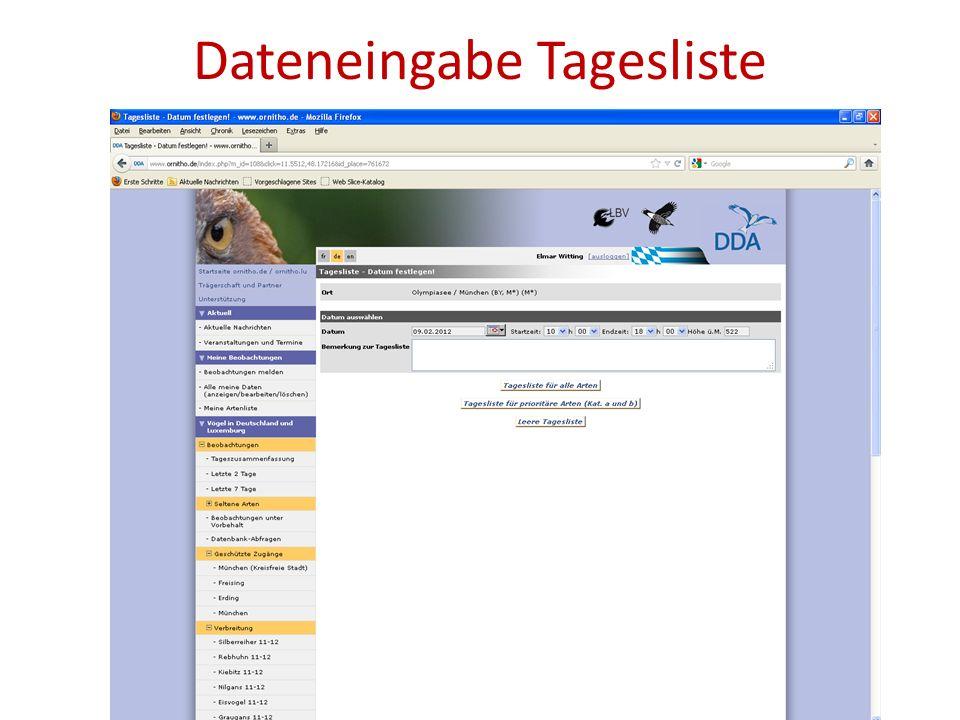 Dateneingabe Tagesliste