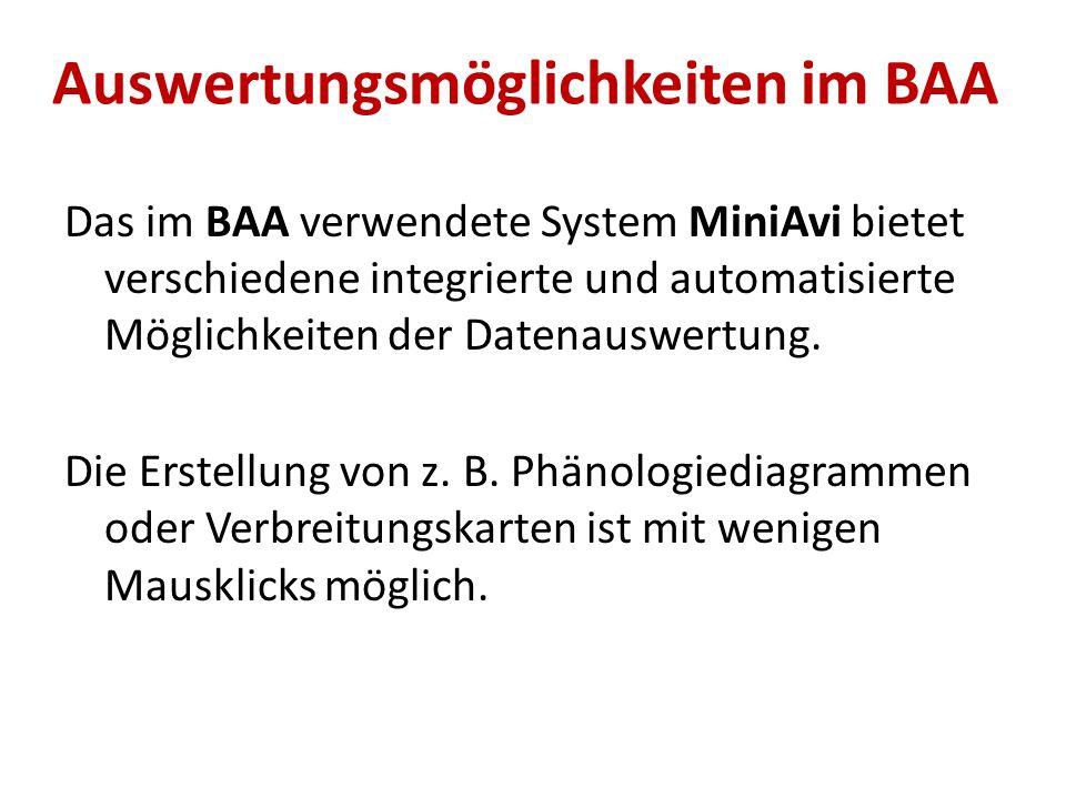 Auswertungsmöglichkeiten im BAA Das im BAA verwendete System MiniAvi bietet verschiedene integrierte und automatisierte Möglichkeiten der Datenauswert