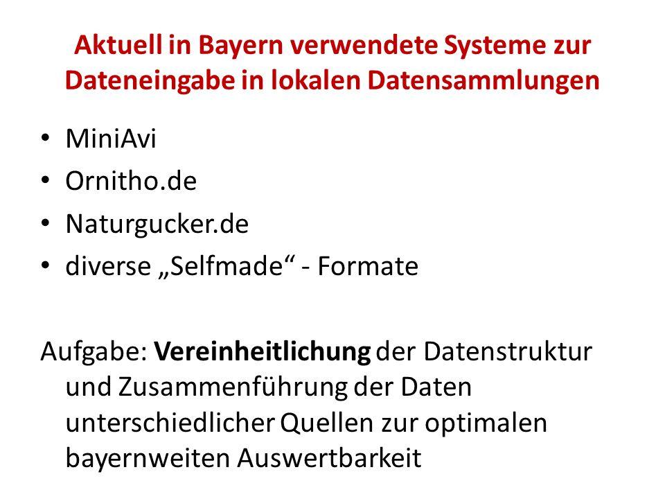 Aktuell in Bayern verwendete Systeme zur Dateneingabe in lokalen Datensammlungen MiniAvi Ornitho.de Naturgucker.de diverse Selfmade - Formate Aufgabe: