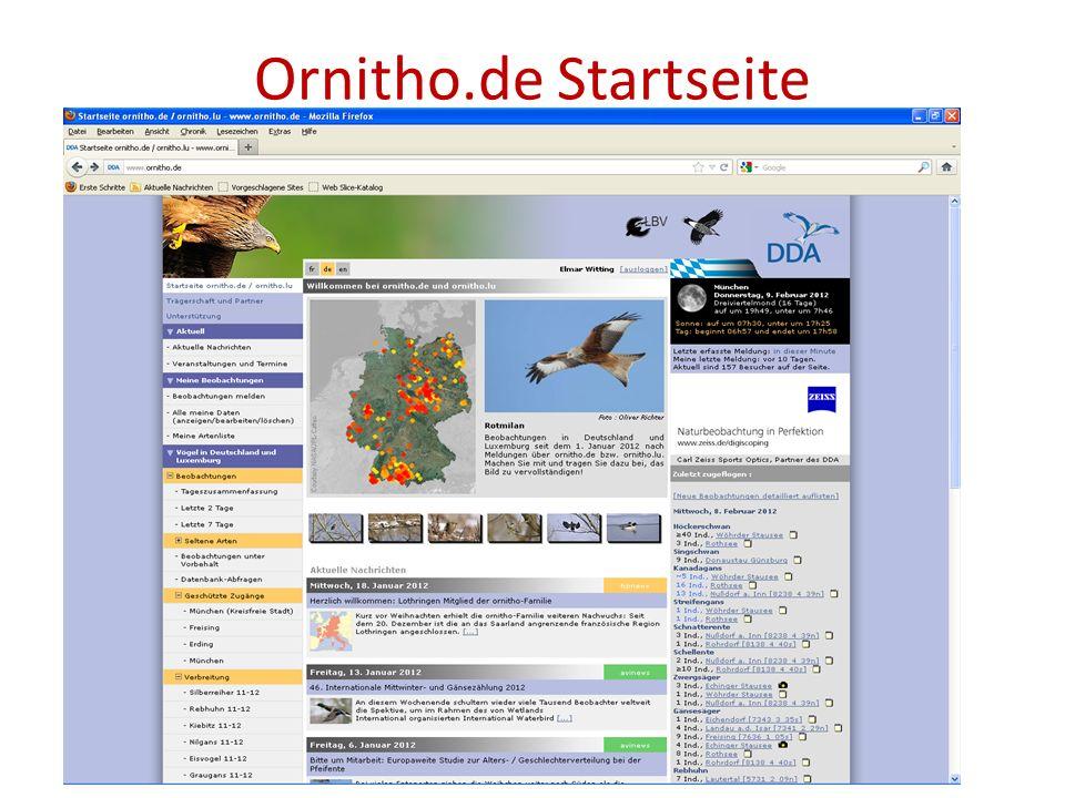 Daten melden auf ornitho.de Ein Klick auf den Schalter Beobachtungen melden führt zum nächsten Bildschirm für die Dateneingabe.