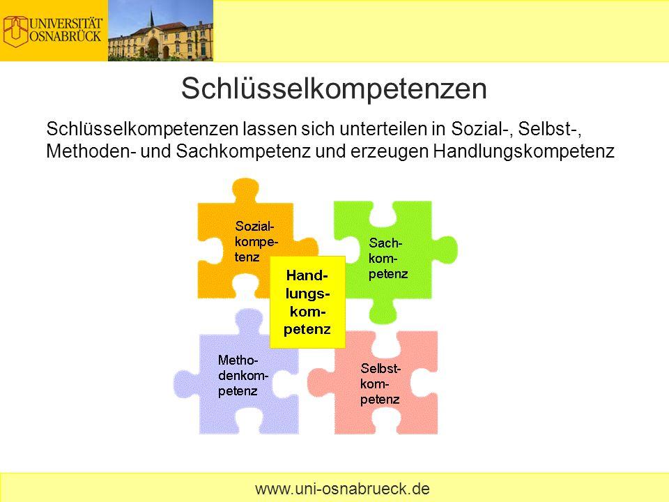 Schlüsselkompetenzen www.uni-osnabrueck.de Schlüsselkompetenzen lassen sich unterteilen in Sozial-, Selbst-, Methoden- und Sachkompetenz und erzeugen