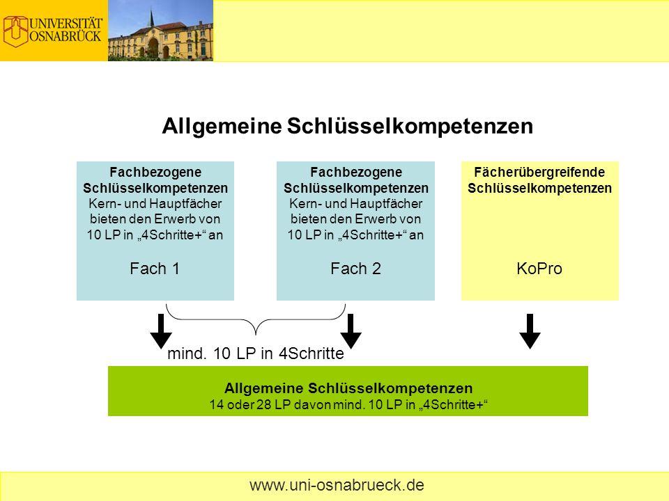 www.uni-osnabrueck.de Fachbezogene Schlüsselkompetenzen Kern- und Hauptfächer bieten den Erwerb von 10 LP in 4Schritte+ an Fach 1 Allgemeine Schlüssel