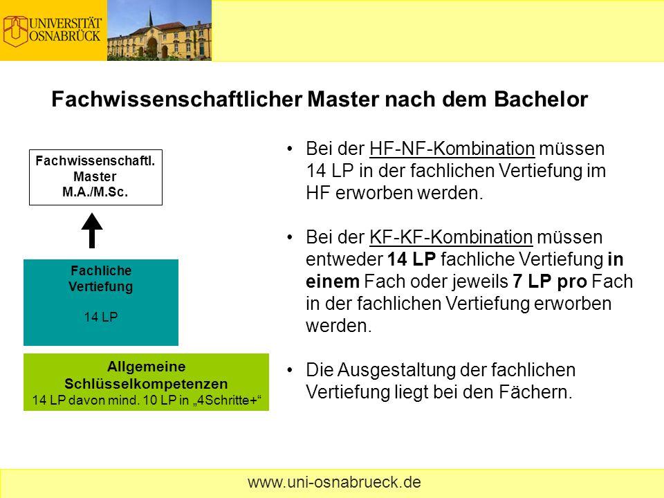 www.uni-osnabrueck.de Berufstätigkeit nach dem Bachelor Insgesamt 28 LP müssen aus dem Bereich der allgemeinen Schlüsselkompetenzen erworben werden, davon mindestens 14 LP aus fachbezogenen Veranstaltungen der beiden Fächer.