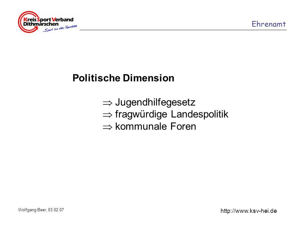 Ehrenamt http://www.ksv-hei.de Wolfgang Beer, 03.02.07 Politische Dimension Jugendhilfegesetz fragwürdige Landespolitik kommunale Foren