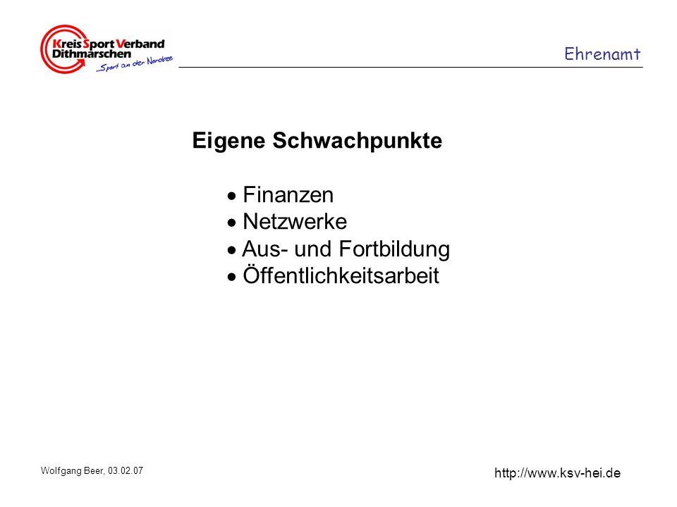 Ehrenamt http://www.ksv-hei.de Wolfgang Beer, 03.02.07 Eigene Schwachpunkte Finanzen Netzwerke Aus- und Fortbildung Öffentlichkeitsarbeit