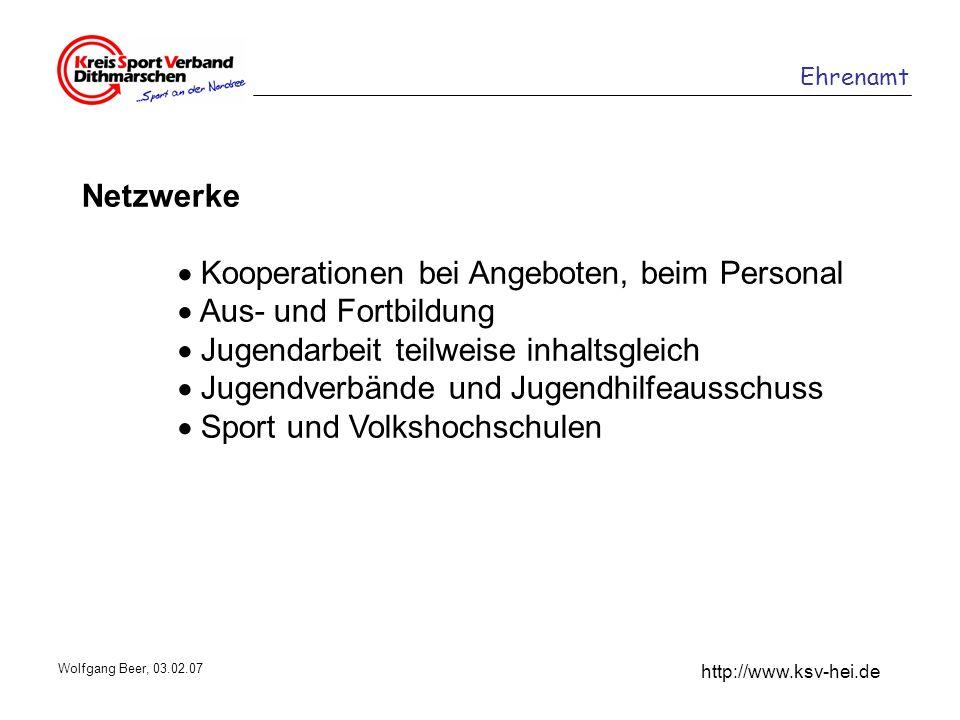 Ehrenamt http://www.ksv-hei.de Wolfgang Beer, 03.02.07 Netzwerke Kooperationen bei Angeboten, beim Personal Aus- und Fortbildung Jugendarbeit teilweis