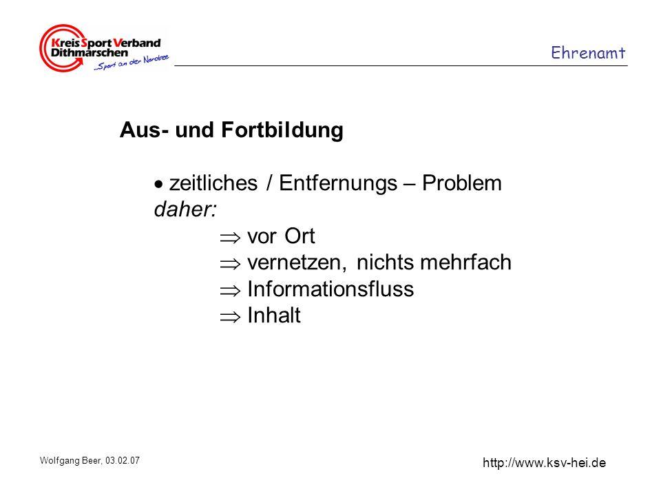 Ehrenamt http://www.ksv-hei.de Wolfgang Beer, 03.02.07 Aus- und Fortbildung zeitliches / Entfernungs – Problem daher: vor Ort vernetzen, nichts mehrfa