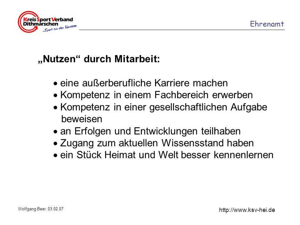 Ehrenamt http://www.ksv-hei.de Wolfgang Beer, 03.02.07 Nutzen durch Mitarbeit: eine außerberufliche Karriere machen Kompetenz in einem Fachbereich erw