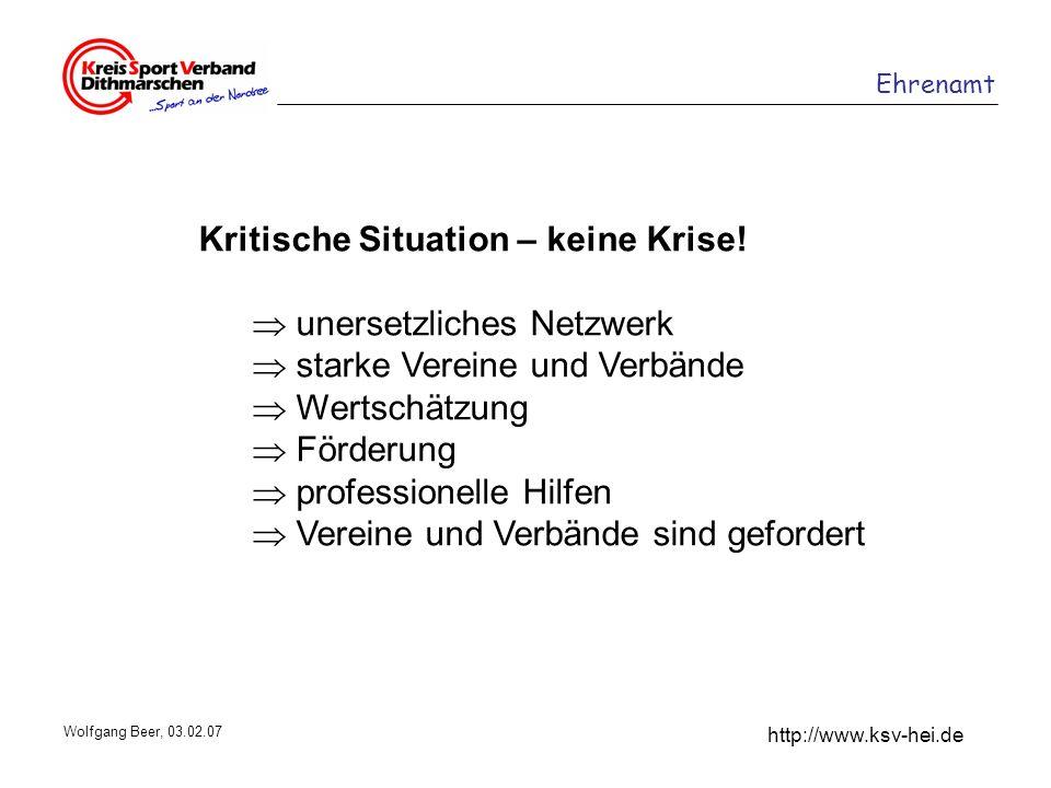 Ehrenamt http://www.ksv-hei.de Wolfgang Beer, 03.02.07 Kritische Situation – keine Krise! unersetzliches Netzwerk starke Vereine und Verbände Wertschä