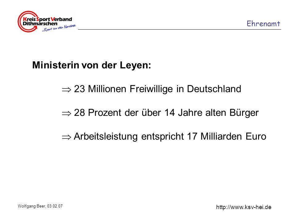 Ehrenamt http://www.ksv-hei.de Wolfgang Beer, 03.02.07 Ministerin von der Leyen: 23 Millionen Freiwillige in Deutschland 28 Prozent der über 14 Jahre