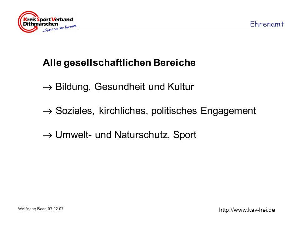 Ehrenamt http://www.ksv-hei.de Wolfgang Beer, 03.02.07 Alle gesellschaftlichen Bereiche Bildung, Gesundheit und Kultur Soziales, kirchliches, politisc