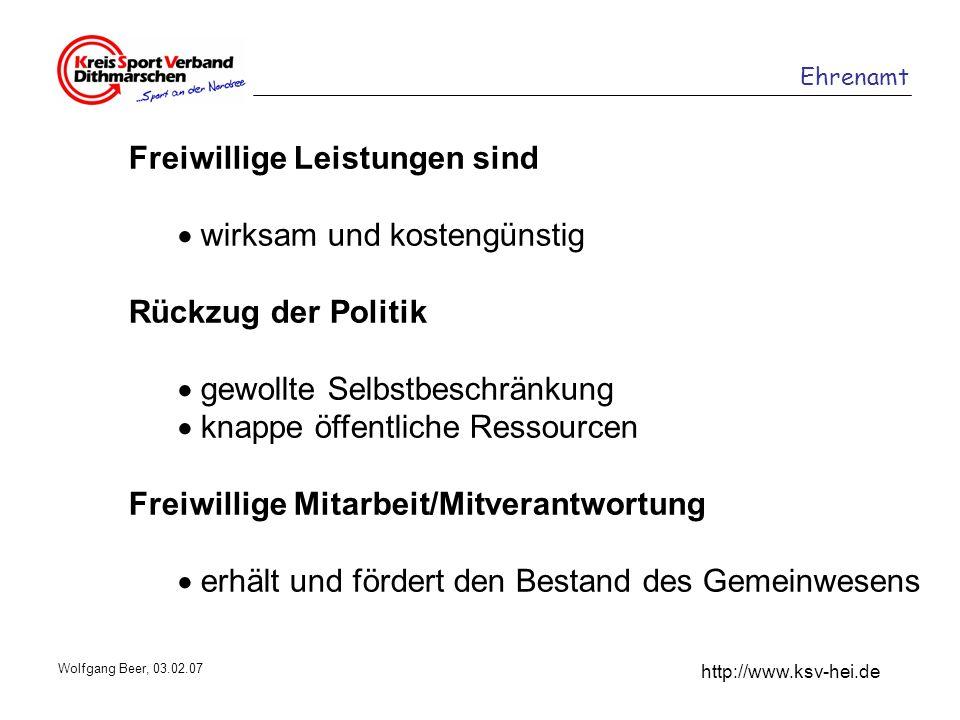 Ehrenamt http://www.ksv-hei.de Wolfgang Beer, 03.02.07 Freiwillige Leistungen sind wirksam und kostengünstig Rückzug der Politik gewollte Selbstbeschr