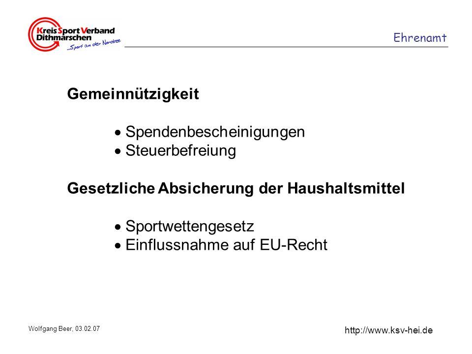 Ehrenamt http://www.ksv-hei.de Wolfgang Beer, 03.02.07 Gemeinnützigkeit Spendenbescheinigungen Steuerbefreiung Gesetzliche Absicherung der Haushaltsmi