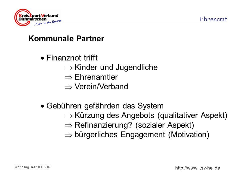 Ehrenamt http://www.ksv-hei.de Wolfgang Beer, 03.02.07 Kommunale Partner Finanznot trifft Kinder und Jugendliche Ehrenamtler Verein/Verband Gebühren g