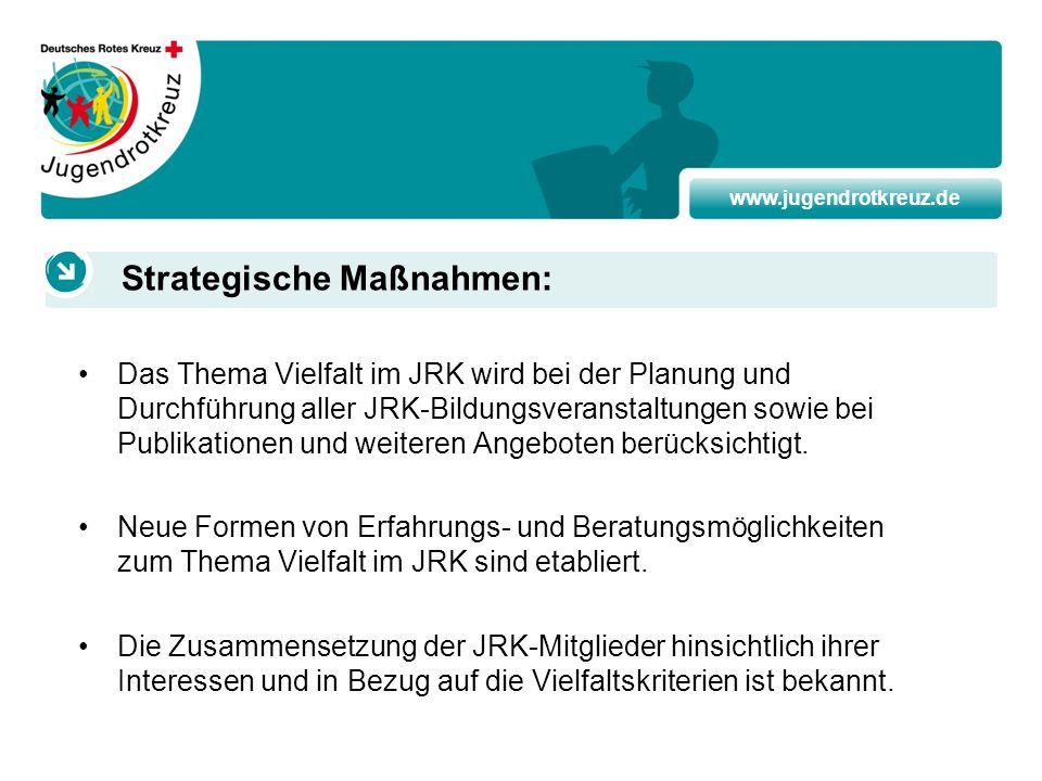 www.jugendrotkreuz.de Das Thema Vielfalt im JRK wird bei der Planung und Durchführung aller JRK-Bildungsveranstaltungen sowie bei Publikationen und we