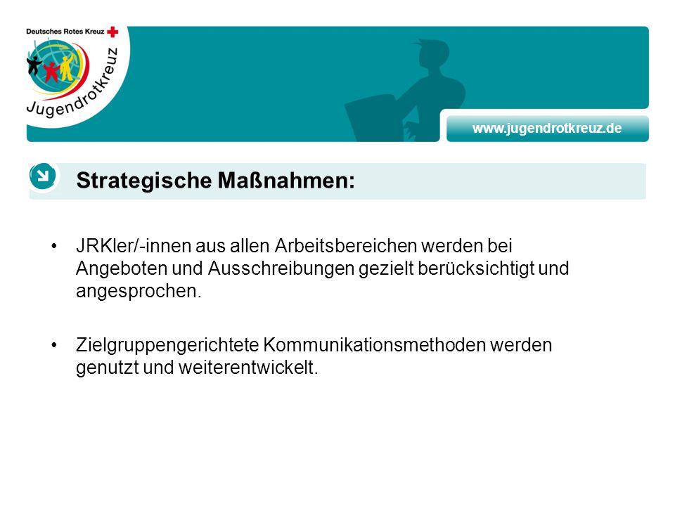 www.jugendrotkreuz.de JRKler/-innen aus allen Arbeitsbereichen werden bei Angeboten und Ausschreibungen gezielt berücksichtigt und angesprochen. Zielg