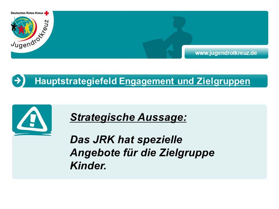 www.jugendrotkreuz.de Strategische Aussage: Das JRK hat spezielle Angebote für die Zielgruppe Kinder. Hauptstrategiefeld Engagement und Zielgruppen