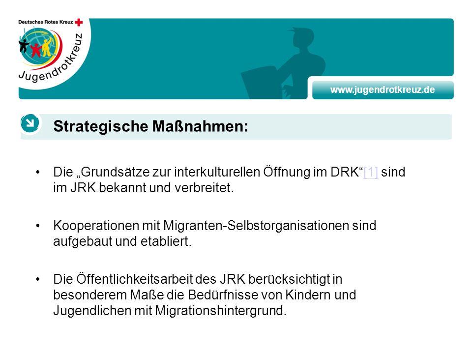 www.jugendrotkreuz.de Die Grundsätze zur interkulturellen Öffnung im DRK[1] sind im JRK bekannt und verbreitet.[1] Kooperationen mit Migranten-Selbsto