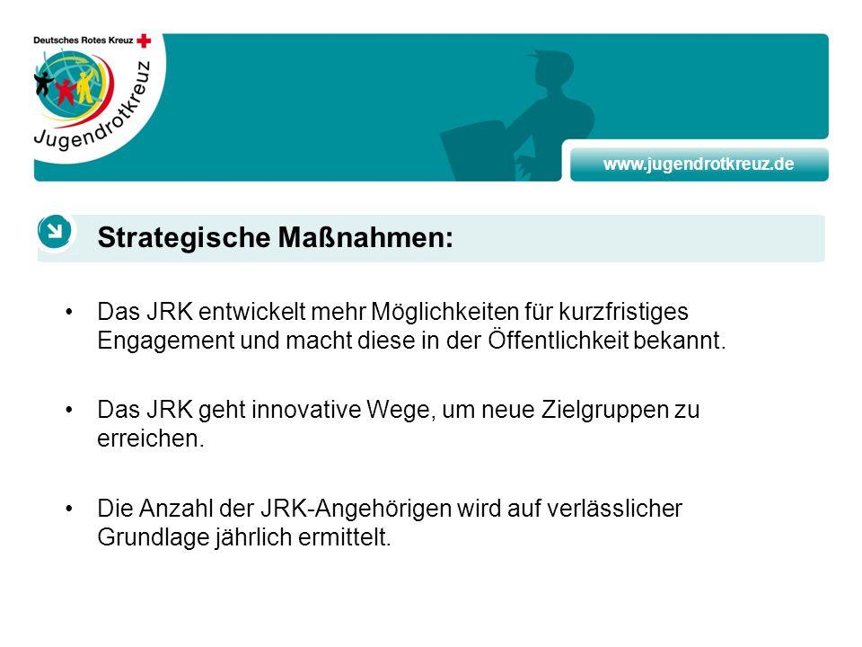 www.jugendrotkreuz.de Das JRK entwickelt mehr Möglichkeiten für kurzfristiges Engagement und macht diese in der Öffentlichkeit bekannt. Das JRK geht i
