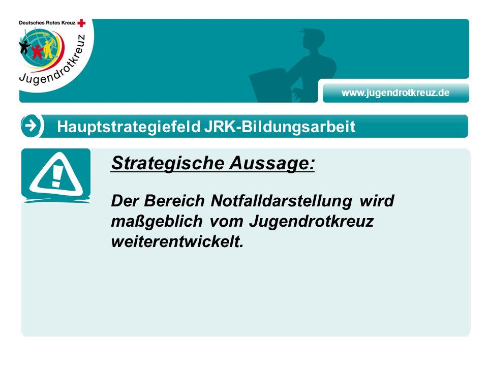 www.jugendrotkreuz.de Strategische Aussage: Der Bereich Notfalldarstellung wird maßgeblich vom Jugendrotkreuz weiterentwickelt. Hauptstrategiefeld JRK