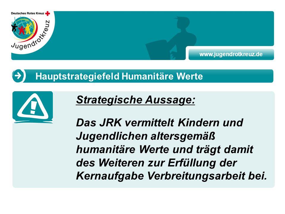 www.jugendrotkreuz.de Strategische Aussage: Das JRK vermittelt Kindern und Jugendlichen altersgemäß humanitäre Werte und trägt damit des Weiteren zur