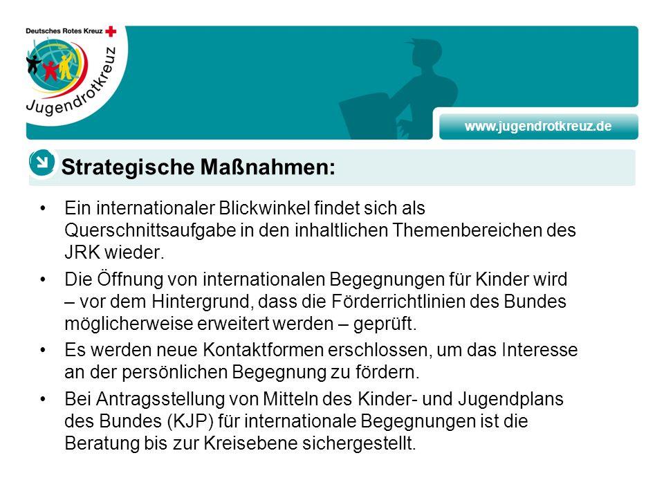 www.jugendrotkreuz.de Ein internationaler Blickwinkel findet sich als Querschnittsaufgabe in den inhaltlichen Themenbereichen des JRK wieder. Die Öffn