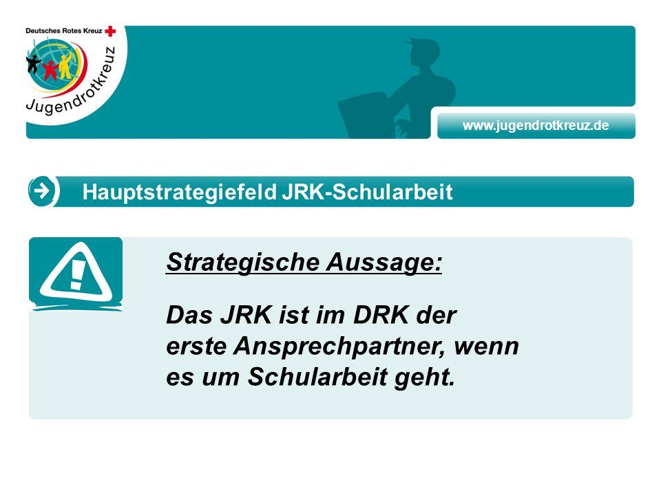 www.jugendrotkreuz.de Strategische Aussage: Das JRK ist im DRK der erste Ansprechpartner, wenn es um Schularbeit geht. Hauptstrategiefeld JRK-Schularb