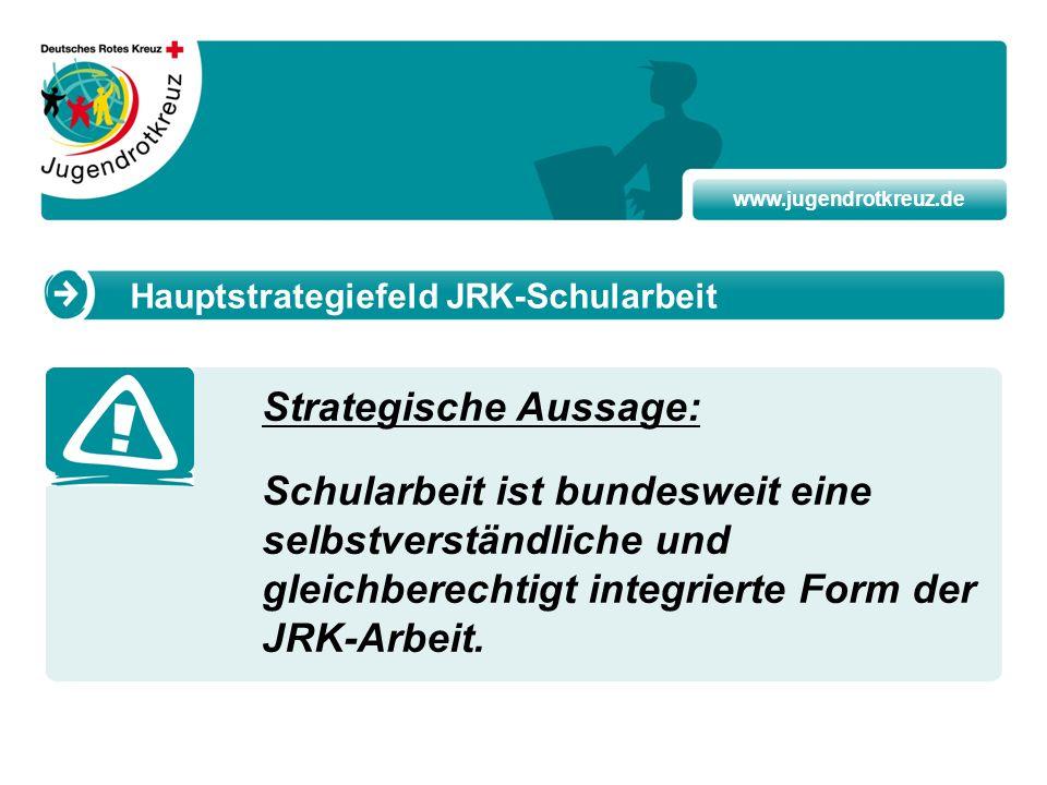 www.jugendrotkreuz.de Strategische Aussage: Schularbeit ist bundesweit eine selbstverständliche und gleichberechtigt integrierte Form der JRK-Arbeit.