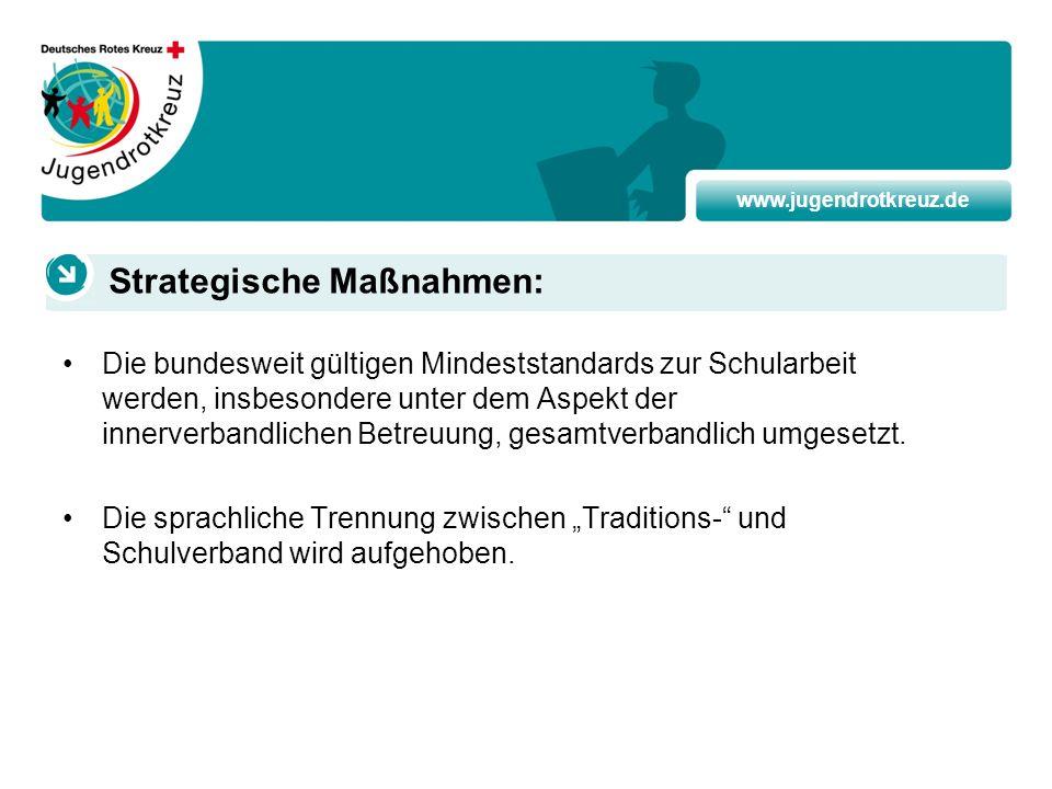 www.jugendrotkreuz.de Die bundesweit gültigen Mindeststandards zur Schularbeit werden, insbesondere unter dem Aspekt der innerverbandlichen Betreuung,