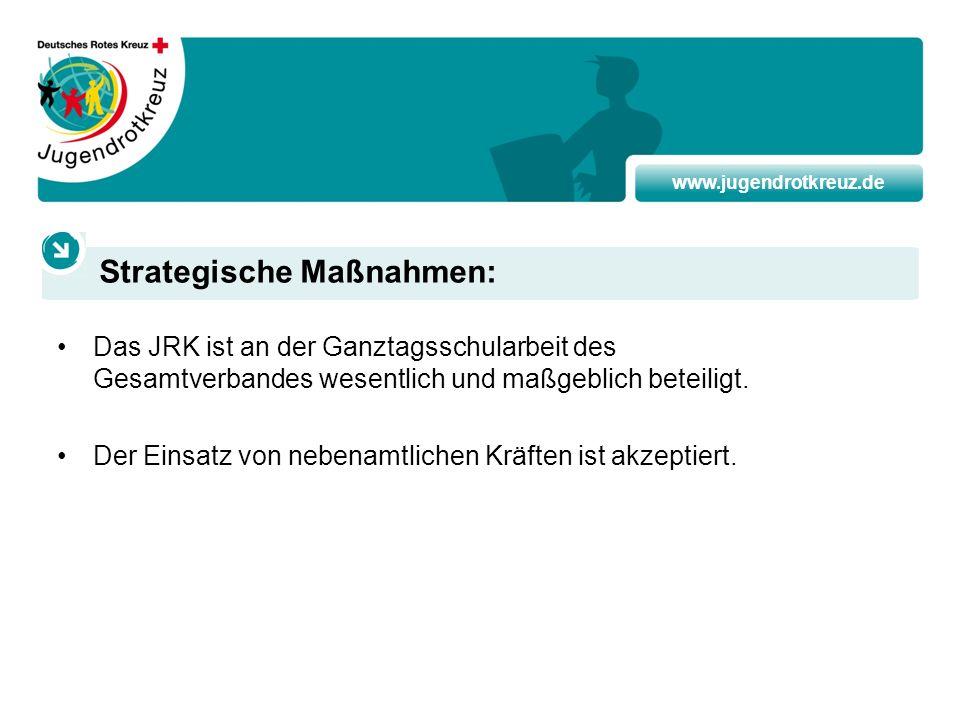 www.jugendrotkreuz.de Das JRK ist an der Ganztagsschularbeit des Gesamtverbandes wesentlich und maßgeblich beteiligt. Der Einsatz von nebenamtlichen K