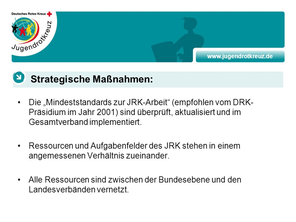 www.jugendrotkreuz.de Die Mindeststandards zur JRK-Arbeit (empfohlen vom DRK- Präsidium im Jahr 2001) sind überprüft, aktualisiert und im Gesamtverban