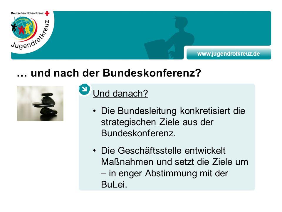 www.jugendrotkreuz.de … und nach der Bundeskonferenz? Und danach? Die Bundesleitung konkretisiert die strategischen Ziele aus der Bundeskonferenz. Die