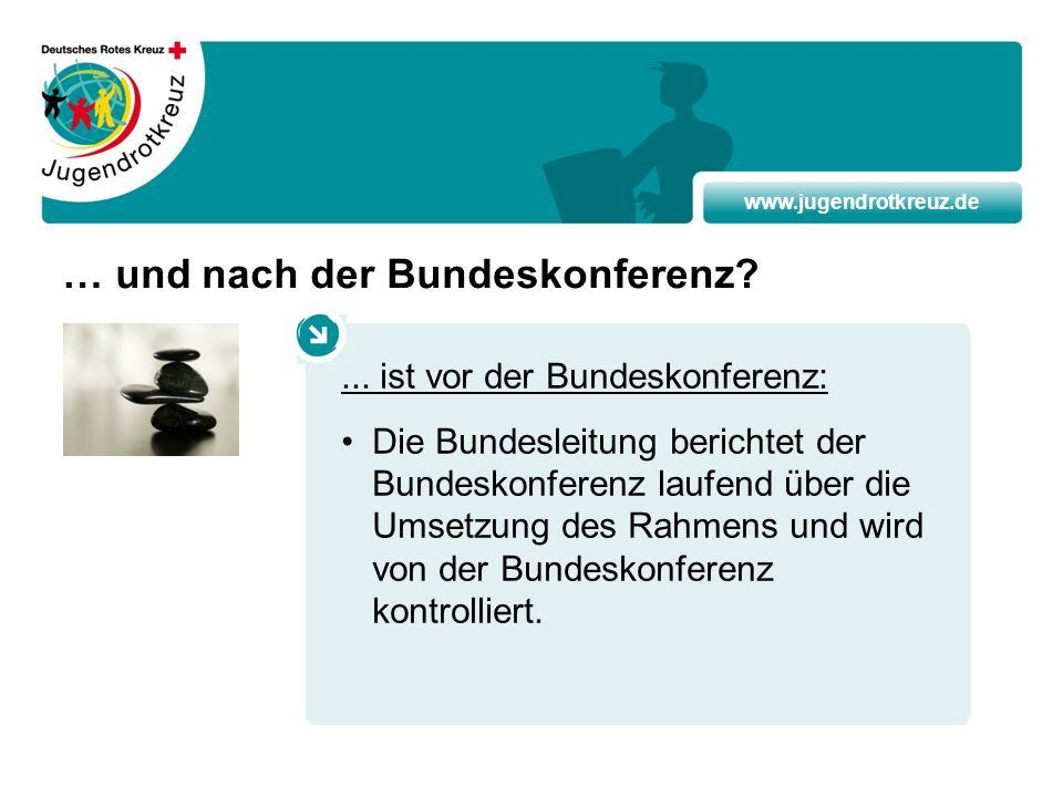 www.jugendrotkreuz.de … und nach der Bundeskonferenz?... ist vor der Bundeskonferenz: Die Bundesleitung berichtet der Bundeskonferenz laufend über die