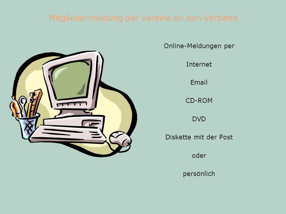 Mitgliedermeldung der Vereine an den Verband Online-Meldungen per Internet Email CD-ROM DVD Diskette mit der Post oder persönlich