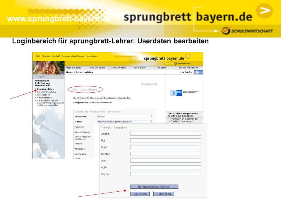 Loginbereich für sprungbrett-Lehrer: Userdaten bearbeiten www.sprungbrett-bayern.de