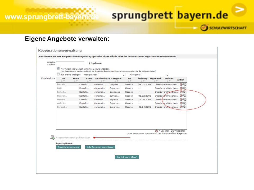 www.sprungbrett-bayern.de Eigene Angebote verwalten: