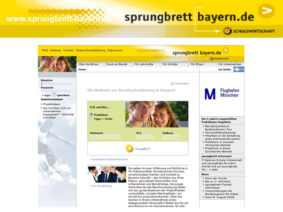 www.sprungbrett-bayern.de Praktikumssuche (unbeschränkt zugänglich):