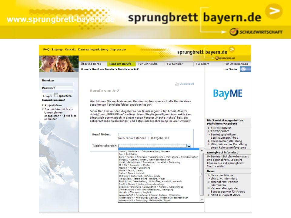 www.sprungbrett-bayern.de Trefferliste bei Praktikumssuche (unbeschränkt zugänglich):