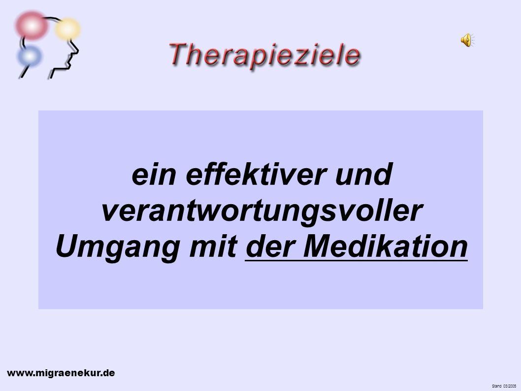 www.migraenekur.de Stand 03/2005 ein effektiver und verantwortungsvoller Umgang mit der Medikation