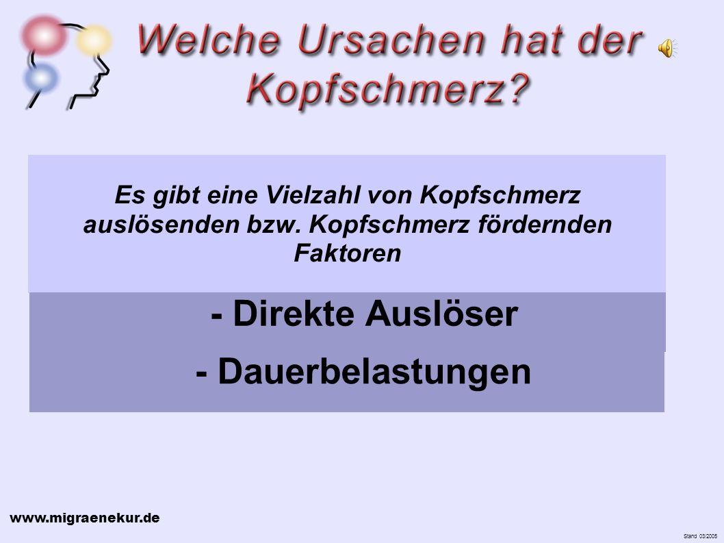 www.migraenekur.de Stand 03/2005 Es gibt eine Vielzahl von Kopfschmerz auslösenden bzw.
