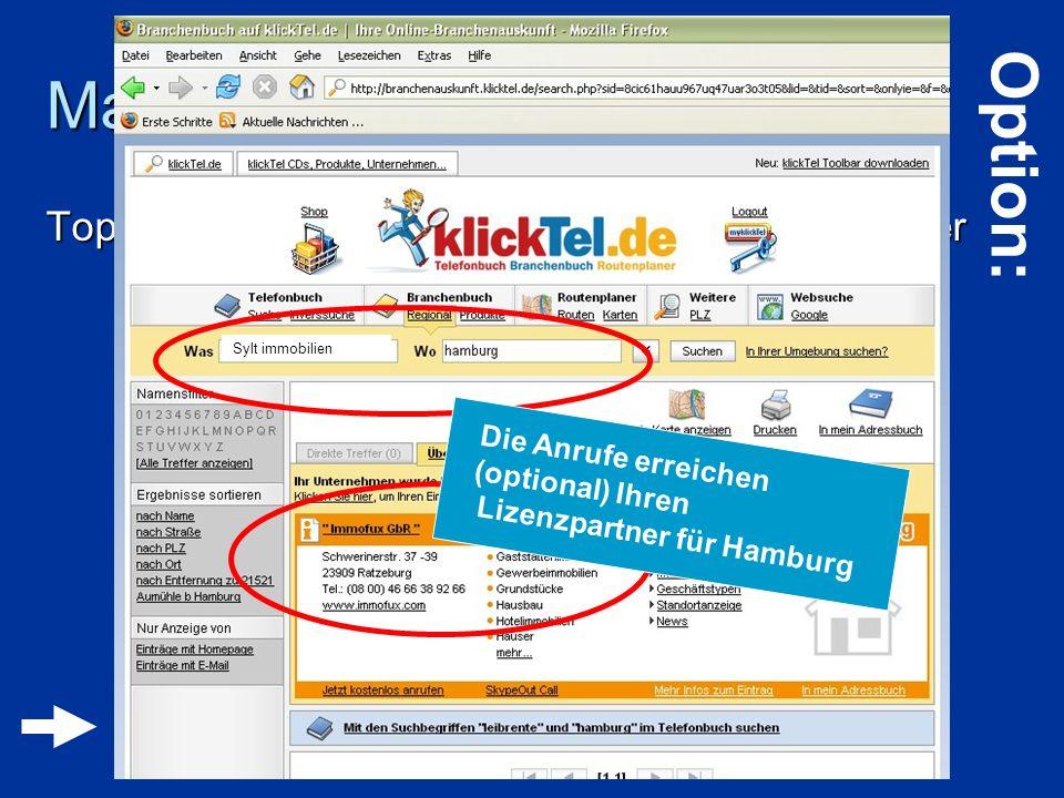 Marketing Top-Platzierung bei Telefonauskunft – Marktführer Top-Platzierung bei Telefonauskunft – Marktführer Klicktel.de Klicktel.de Die Anrufe errei