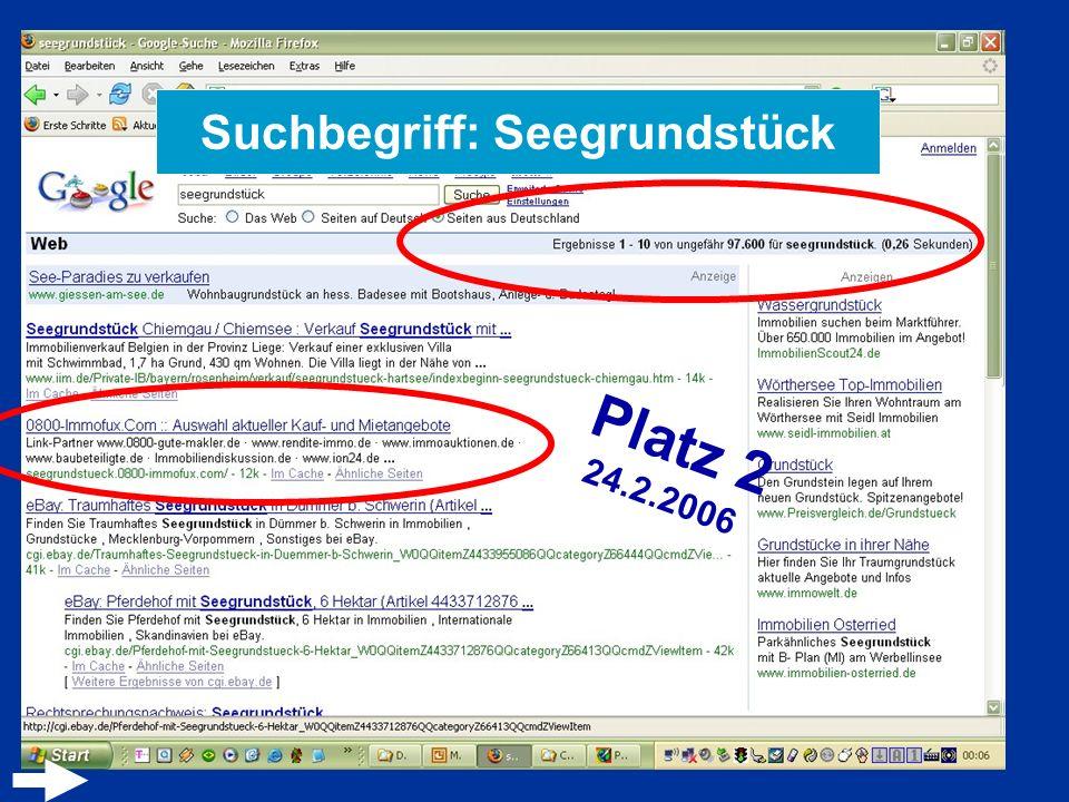 Suchbegriff: Seegrundstück Platz 2 24.2.2006