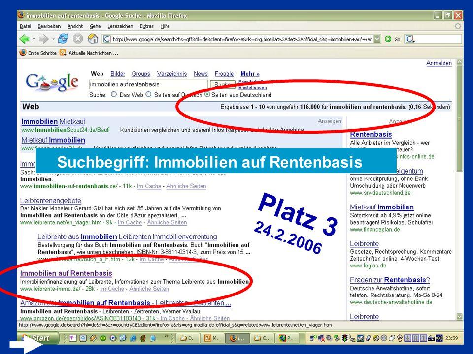 Suchbegriff: Immobilien auf Rentenbasis Platz 3 24.2.2006