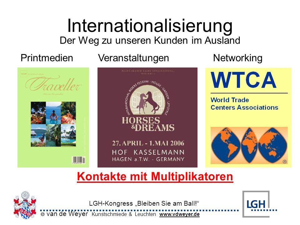 van de Weyer Kunstschmiede & Leuchten www.vdweyer.de LGH-Kongress Bleiben Sie am Ball! Internationalisierung PrintmedienVeranstaltungenNetworking Kont