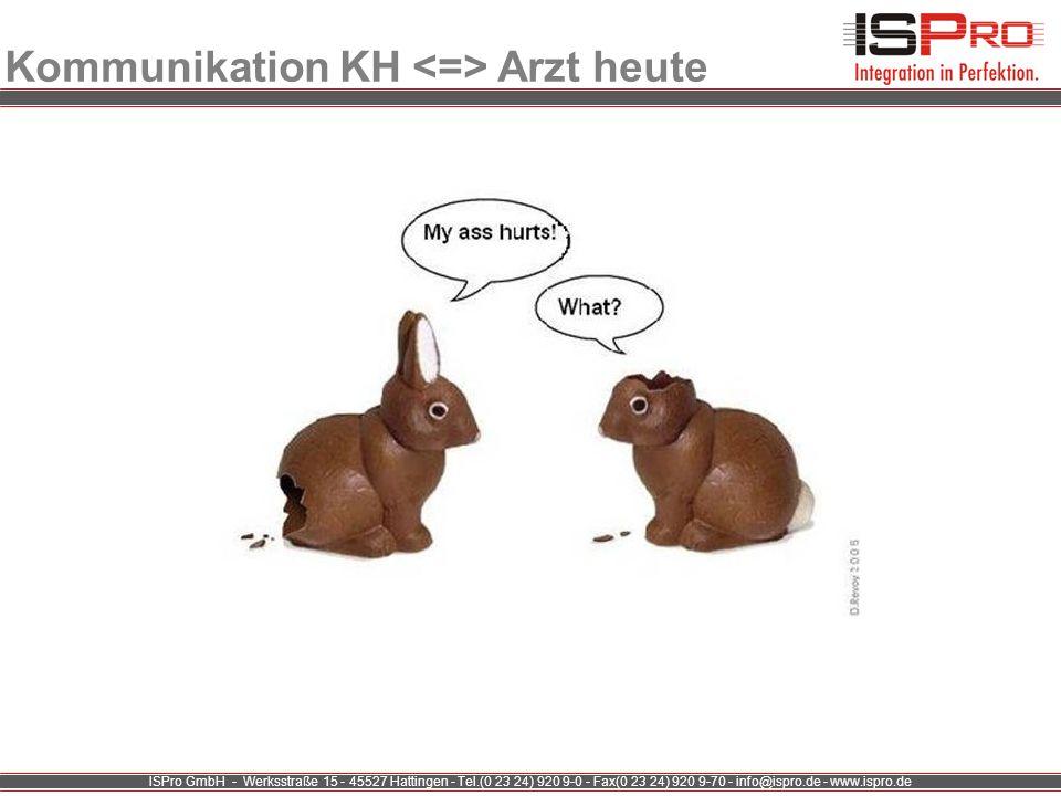 ISPro GmbH - Werksstraße 15 - 45527 Hattingen - Tel.(0 23 24) 920 9-0 - Fax(0 23 24) 920 9-70 - info@ispro.de - www.ispro.de Kommunikation KH Arzt heu