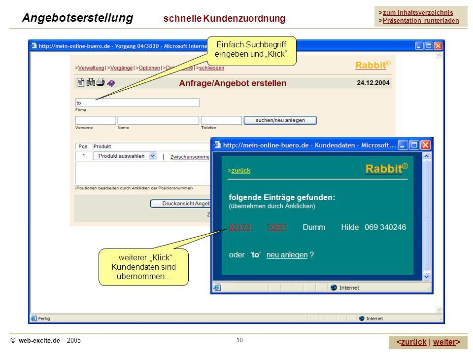 >zum Inhaltsverzeichnis >Präsentation runterladen zurückweiter © web-excite.de 2005 10 Angebotserstellung schnelle Kundenzuordnung Einfach Suchbegriff