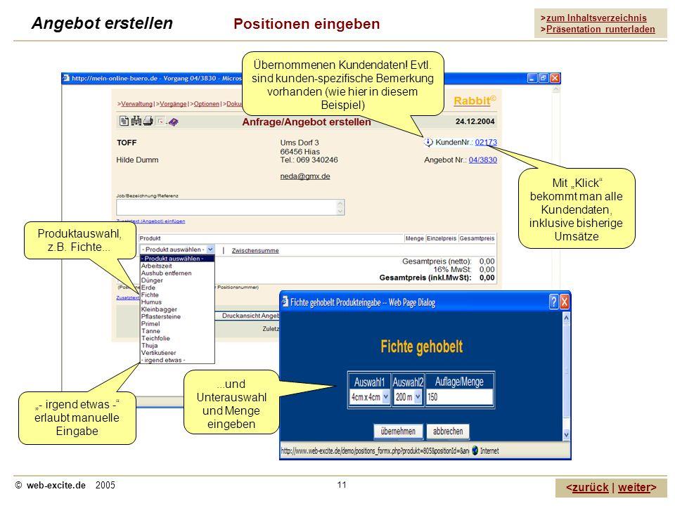>zum Inhaltsverzeichnis >Präsentation runterladen zurückweiter © web-excite.de 2005 11 Angebot erstellen Positionen eingeben Übernommenen Kundendaten!