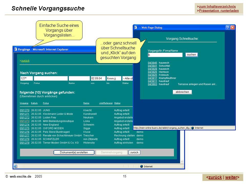 >zum Inhaltsverzeichnis >Präsentation runterladen zurückweiter © web-excite.de 2005 15 Schnelle Vorgangssuche Einfache Suche eines Vorgangs über Vorga