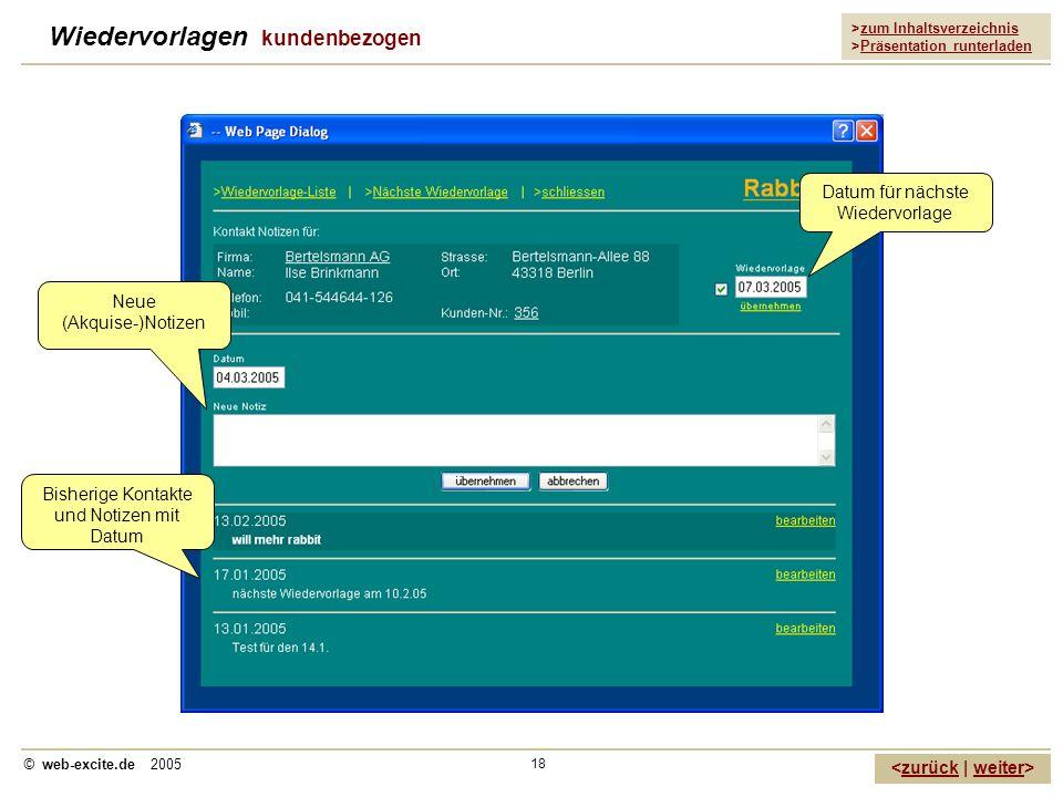 >zum Inhaltsverzeichnis >Präsentation runterladen zurückweiter © web-excite.de 2005 18 Wiedervorlagen kundenbezogen Datum für nächste Wiedervorlage Ne