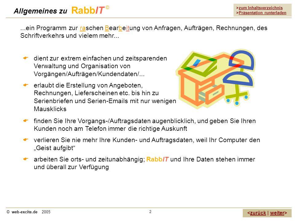 >zum Inhaltsverzeichnis >Präsentation runterladen zurückweiter © web-excite.de 2005 2 Allgemeines zu RabbIT © dient zur extrem einfachen und zeitspare
